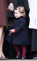 25 December 2016 - Princess Kate Duchess of Cambridge, and Princess Charlotte attend a morning Christmas Day service at St Mark's Church in Englefield, Berkshire. Photo Credit: Alpha Press/AdMedia