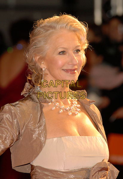 DAME HELEN MIRREN.Red Carpet Arrivals at The Orange British Academy Film Awards (BAFTA's) held at the Royal Opera House, Covent Garden, London, England, February 11th 2007..half length necklace.CAP/IL.©Ian Leonard/Capital Pictures