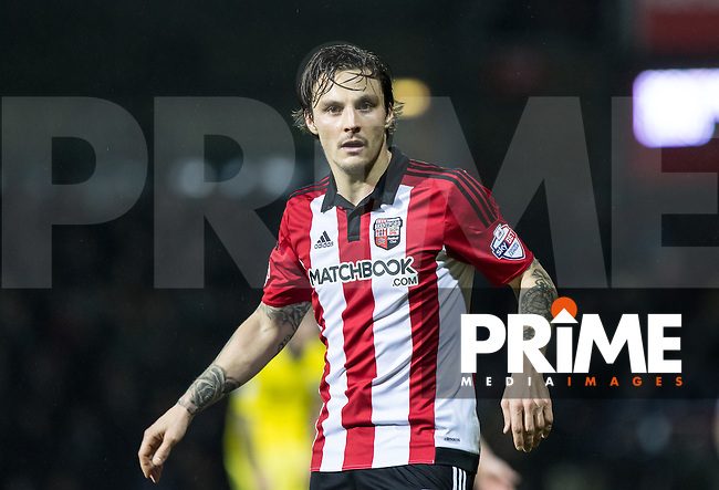 Goal scorer Sam Saunders of Brentford during the Sky Bet Championship match between Brentford and Leeds United at Griffin Park, London, England on 26 January 2016. Photo by Andy Rowland / PRiME Media Images.