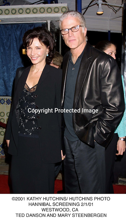 ©2001 KATHY HUTCHINS/ HUTCHINS PHOTO.HANNIBAL SCREENING 2/1/01.WESTWOOD, CA  .TED DANSON AND MARY STEENBERGEN