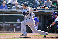 New Orleans Zephyrs Austin Nola (9) swings during the game against the Iowa Cubs  at Principal Park on April 13, 2016 in Des Moines, Iowa.  The Cubs won 9-5 .  (Dennis Hubbard/Four Seam Images)