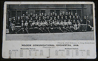 BNPS.co.uk (01202 558833)<br /> Picture: HAldridge/BNPS<br /> <br /> ****Please use full byline****<br /> <br /> Wallace Hartley (Front 4th from Right) as a 30 year old in the Nelson Congregational orchestra in 1908.<br /> <br /> The violin played by the bandmaster on the Titanic as the ship was sinking is finally being auctioned for an estimated &pound;400,000.<br /> <br /> The wooden instrument has been proven to be the one used by Wallace Hartley as his band famously played on to help keep the passengers calm during the disaster.<br /> <br /> Its existence and survival only emerged in 2006 when the son of an amateur violinist who was gifted it by her music teacher in the early 1940s contacted an auctioneers.
