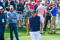Phil Mickelson (USA) approaches the first tee during round 2 Four-Ball of the 2017 President's Cup, Liberty National Golf Club, Jersey City, New Jersey, USA. 9/29/2017.<br /> Picture: Golffile | Ken Murray<br /> <br /> All photo usage must carry mandatory copyright credit (&copy; Golffile | Ken Murray)
