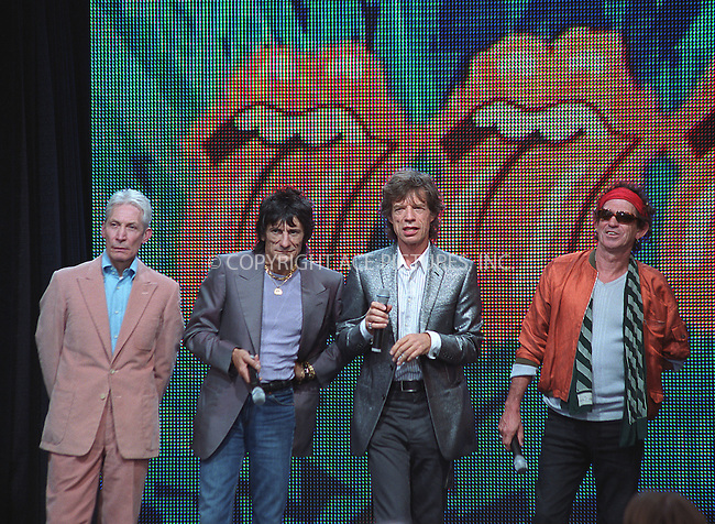 """The Rolling Stones at the press conference to announce their upcoming """"Rolling Stones World Tour 2002/2003."""" Van Cortlandt Park in Bronx, New York.  May 7, 2002. Pictured (L to R): Charlie Watts, Ronnie Wood, Mick Jagger and Keith Richards. Please byline: Alecsey Boldeskul/NY Photo Press.   ..*PAY-PER-USE*      ....NY Photo Press:  ..phone (646) 267-6913;   ..e-mail: info@nyphotopress.com"""