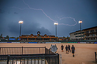 DRAMATIC: Mother Nature provides her lightshow over this magnificent venue... 2018 FEI World Equestrian Games Tryon. Monday 10 September. Copyright Photo: Libby Law Photography