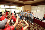 HOWEY IN THE HILLS, FL - MAY 19: National champions Wittenberg University pose with their trophies during the Division III Men's Golf Championship held at the Mission Inn Resort and Club on May 19, 2017 in Howey In The Hills, Florida. (Photo by Cy Cyr/NCAA Photos via Getty Images)