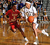 Shane Gatling #11 of Baldwin, right, gets pressured by Matt Asenjo #3 of Half Hollow Hills West during the Class AA varsity boys basketball Long Island Championship at LIU Post on Sunday, Mar. 6, 2016. Baldwin outscored Hills West 15-3 in the fourth quarter and won by a score of 65-55.
