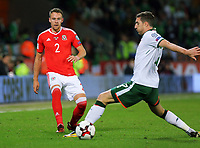 (L-R) Chris Gunter of Wales challenged by James McCarthy of Ireland during the FIFA World Cup Qualifier Group D match between Wales and Republic of Ireland at The Cardiff City Stadium, Wales, UK. Monday 09 October 2017