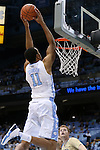 18 November 2015: North Carolina's Brice Johnson catches an alley-oop before dunking the ball. The University of North Carolina Tar Heels hosted the Wofford College Terriers at the Dean E. Smith Center in Chapel Hill, North Carolina in a 2015-16 NCAA Division I Men's Basketball game. UNC won the game 78-58.