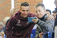 Bersant Celina of Swansea City has a selfie taken by a young fan prior to the Sky Bet Championship match between Sheffield Wednesday and Swansea City at Hillsborough Stadium, Sheffield, England, UK. Saturday 23 February 2019