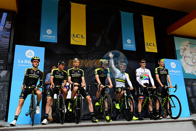 Mitchelton-Scott team introduced on stage at sign on before Stage 1 of the 2018 Criterium du Dauphine 2018 running 179km from Valence to Saint-Just-Saint-Rambert, France. 4th June 2018.<br /> Picture: ASO/Alex Broadway | Cyclefile<br /> <br /> <br /> All photos usage must carry mandatory copyright credit (© Cyclefile | ASO/Alex Broadway)