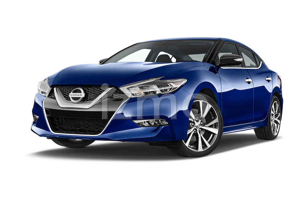 Stock pictures of low aggressive front three quarter view of2016 Nissan Maxima SV 4 Door Sedan Low Aggressive