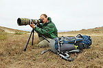 Sebastian Kennerknecht photographing wildlife, Point Reyes National Seashore, California