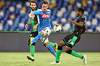 Arkadiusz Milik of SSC Napoli and Marlon US Sassuolocom\<br /> during the Serie A football match between SSC  Napoli and US Sassuolo at stadio San Paolo in Naples ( Italy ), July 25th, 2020. Play resumes behind closed doors following the outbreak of the coronavirus disease. <br /> Photo Cesare Purini / Insidefoto