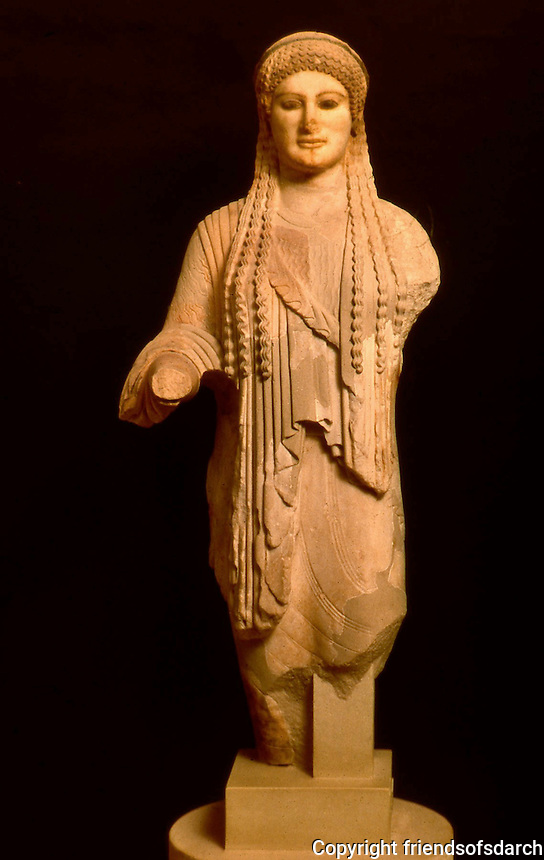 Greek Art:  Kore (Statue of a Maiden), around 490 B.C.  Greek Ministry of Culture, Athens.