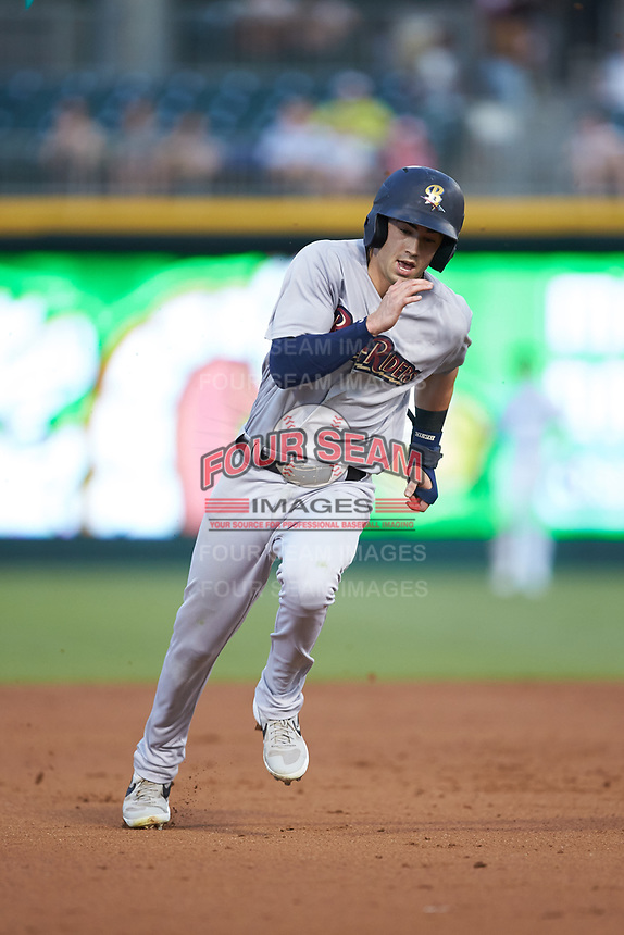 Tyler Wade (9) of the Scranton/Wilkes-Barre RailRiders hustles towards third base against the Charlotte Knights at BB&T BallPark on August 13, 2019 in Charlotte, North Carolina. The Knights defeated the RailRiders 15-1. (Brian Westerholt/Four Seam Images)