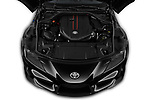 Car stock 2019 Toyota GR-Supra Sport 2 Door Coupe engine high angle detail view