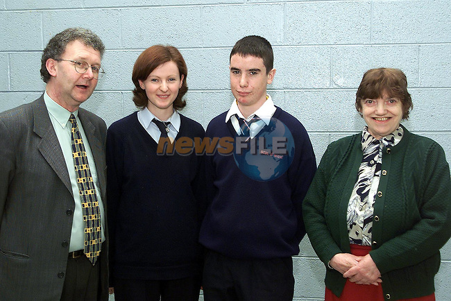 Sandra McMorrow and Noel McConville who won November's Students of the Month in Scoil Ui Mhuire pictured with Paul Dolan, principal and Cepta Morgan, treasurer Dunleer Credit Union..Picture Paul Mohan Newsfile