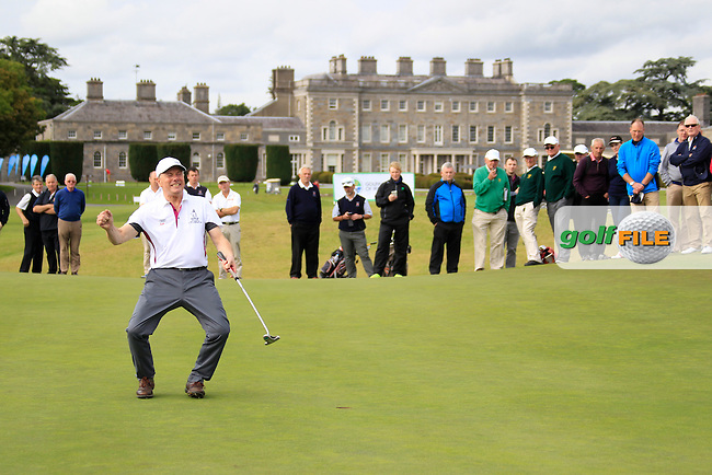 Greenisland John Armstrong sinks the winning put in the AIG Junior Cup Final at the AIG Cups &amp; Shields National Finals, Carton House, Maynooth, Co Kildare.<br /> Picture Golffile | Fran Caffrey