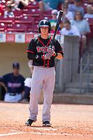 Lansing Lugnuts first baseman Kellen Sweeney #10 bats during a game against the Cedar Rapids Kernels at Veterans Memorial Stadium on April 30, 2013 in Cedar Rapids, Iowa. (Brace Hemmelgarn/Four Seam Images)