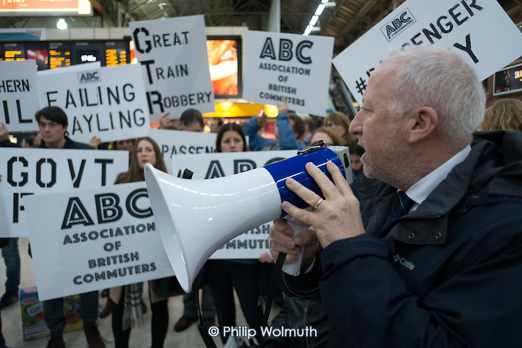 Andy McDonald, Labour Shadow Secretary of State for Transport. London Victoria Southern Rail passengers protest at poor services.