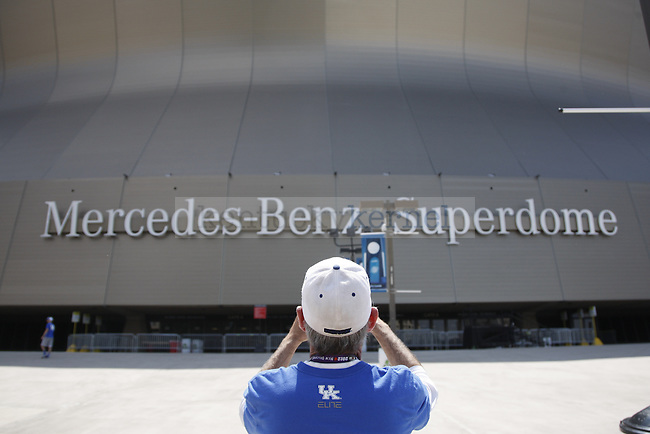 Jimmy Gilvin, from Deer Park, Texas, takes a photo of the Superdome sign before the Kentucky vs. Kansas National Championship game at the Superdome in New Orleans, Louisiana  April 2, 2012. Gilvin has been a fan of UK basketball for more than 20 years. Photo by Brandon Goodwin | Staff