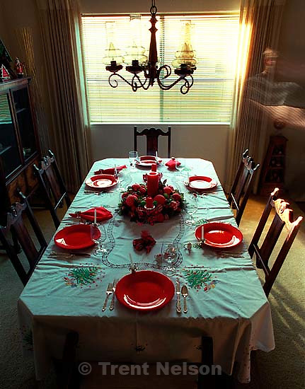 Christmas dinner table, 1987.  &amp;#xA;<br />