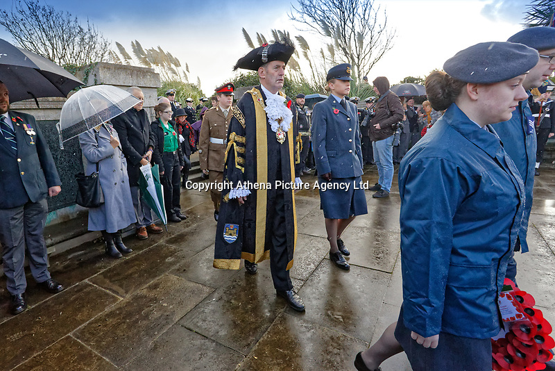 Pictured: Councilor David Phillips arrives for the service. Sunday 11 November 2018<br /> Re: Commemoration for the 100 years since the end of the First World War on Remembrance Day at the Swansea Cenotaph in south Wales, UK.