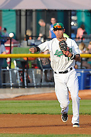 Luis Caballero #10 of the Clinton LumberKings throws runner out at first base against the South Bend Silver Hawks at Ashford University Field on July 26, 2014 in Clinton, Iowa. The Sliver Hawks won 2-0.   (Dennis Hubbard/Four Seam Images)