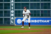 Mississippi State Bulldogs shortstop Luke Alexander (7) on defense against the Houston Cougars in game six of the 2018 Shriners Hospitals for Children College Classic at Minute Maid Park on March 3, 2018 in Houston, Texas. The Bulldogs defeated the Cougars 3-2 in 12 innings. (Brian Westerholt/Four Seam Images)