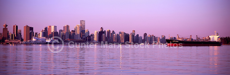 Vancouver, BC, British Columbia, Canada - City and Downtown Skyline, Port of Vancouver Harbor / Harbour, Burrard Inlet, Summer Sunrise - Panoramic View