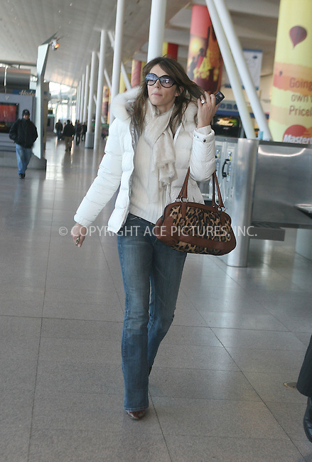 WWW.ACEPIXS.COM....January 31 2007, New York City....British Actress and model Elizabeth Hurley arrived at JFK Airport in New York City, bought a magazine at a news stand and was taken to her midtown Manhattan Hotel.........Please byline: VAUGHAN/WARD/ACEPIXS.COM....For information please contact Philip Vaughan:..tel: 212 243 8787 or 646 769 0430..e-mail: info@acepixs.com..website: www.acepixs.com