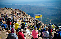 August 19, 2017 - Colorado Springs, Colorado, U.S. -  Colorado race fans await mountain runners during the 62nd running of the Pikes Peak Ascent.  The Ascent is a full half-marathon gaining over 7800 feet in elevation to reach the summit at 14,115 feet.  Mountain runners from around the world converge on Pikes Peak for two days of racing on America's Mountain in Colorado Springs, Colorado.