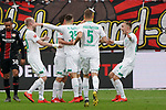 17.03.2019, BayArena, Leverkusen, GER, 1. FBL, Bayer 04 Leverkusen vs. SV Werder Bremen,<br />  <br /> DFL regulations prohibit any use of photographs as image sequences and/or quasi-video<br /> <br /> im Bild / picture shows: <br /> Torjubel / Jubel / Jubellauf,   Max Kruse (Werder Bremen #10),  mit Maximilian Eggestein (Werder Bremen #35), Ludwig Augustinsson (Werder Bremen #5), Johannes Eggestein (Werder Bremen #24),  1:0 fuer Bremen<br /> <br /> Foto © nordphoto / Meuter