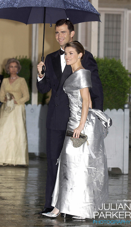 Crown Prince Felipe of Spain & Letizia Ortiz Rocasolano attend a Gala Dinner at the El Pardo Royal Palace in Madrid..Picture: UK Press