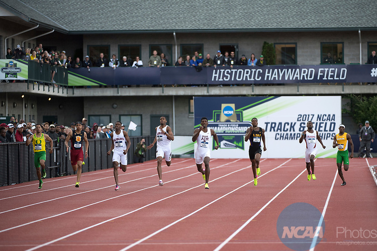 EUGENE, OR - JUNE 09: Fred Kerley of Texas A&M University races to a first place finish in the 400 meter dash during the Division I Men's Outdoor Track & Field Championship held at Hayward Field on June 9, 2017 in Eugene, Oregon. Kerley won the event with a 44.10 time. (Photo by Jamie Schwaberow/NCAA Photos via Getty Images)