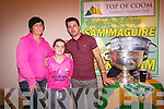 Mary and Mary Ellen McCarthy with Kerry Senior Footballer Aidan O'Mahony and the Sam Maguire at the Top of Coom last Thursday night.