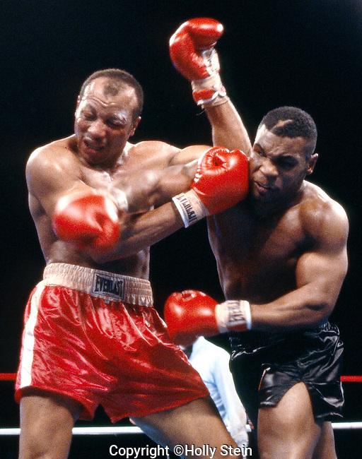 LAS VEGAS - MARCH 7:  Mike Tyson v. James Smith; UD12; WBC, WBA heavyweight title