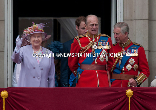 """TROOPING THE COLOUR_Members of the Royal Family watched the flypast by the Royal Air Force..They included the Queen, Prince Philip, Prince Charles, Prince William, Prince Andrew, Prince Edward, Camilla Duchess of Cornwall, Princess Anne, Princess Eugenie, Princess Beatrice, Prince Michael of Kent, Princess Michael of Kent, Duke of Kent, Sophie Countess of Wessex..Soldiers of the Household Division paraded today to mark the Queen's Official Birthday on Horse Guards Parade at the ceremony known as Trooping the Colour..The Colour trooped in the presence of Her Majesty The Queen, was the new Colour of the 1st Battalion Grenadier Guards, which was presented by Her Majesty on 12th May..The parade consisited of 1400 Soldiers in the traditional uniforms of the Household Cavalry, Royal Horse Artillery, and Foot Guards, over 200 horses and about 400 musicians from ten bands & corps of drums..The Duke of Edinburgh and the Royal Colonels (Prince Charles, The Princess Royal, and The Duke of Kent) were also at the parade..Photo Credit: ©Dias/Newspix International..**ALL FEES PAYABLE TO: """"NEWSPIX INTERNATIONAL""""**..PHOTO CREDIT MANDATORY!!: NEWSPIX INTERNATIONAL..IMMEDIATE CONFIRMATION OF USAGE REQUIRED:.Newspix International, 31 Chinnery Hill, Bishop's Stortford, ENGLAND CM23 3PS.Tel:+441279 324672  ; Fax: +441279656877.Mobile:  0777568 1153.e-mail: info@newspixinternational.co.uk"""