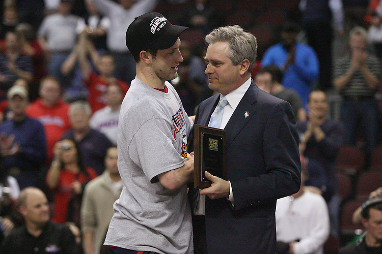 LAS VEGAS, NV - MARCH 8:  Presentation of team awards after Saint Mary's 81-62 win over the Gonzaga Bulldogs in the championship game of the 2010 Zappos West Coast Conference Basketball Championships on March 8, 2010 at Orleans Arena in Las Vegas Nevada.