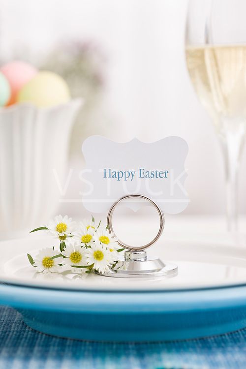 Happy Easter card on plate
