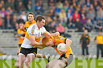 Stacks Shane O'Callaghan is stopped by Crokes Daithi Casey during their quarter final clash in Fitzgerald Stadium on Sunday