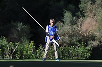 Cormac Sharvin (NIR) caddy on the 5th green during Round 1 of the Challenge Tour Grand Final 2019 at Club de Golf Alcanada, Port d'Alcúdia, Mallorca, Spain on Thursday 7th November 2019.<br /> Picture:  Thos Caffrey / Golffile<br /> <br /> All photo usage must carry mandatory copyright credit (© Golffile | Thos Caffrey)