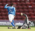 Francisco Sandaza goes past onrushing Motherwell Darren Randolph to score for St Johnstone