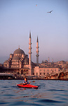 Turkey, Sea Kayaking, Istanbul, Golden Horn, Galata Bridge, woman, sunrise paddle,