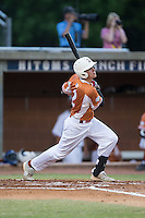 Ryan Colombo (2) of the Asheboro Copperheads follows through on his swing against the High Point-Thomasville HiToms at Finch Field on June 12, 2015 in Thomasville, North Carolina.  The HiToms defeated the Copperheads 12-3. (Brian Westerholt/Four Seam Images)