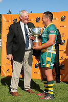Sir Brian Lochore presents the Lochore Cup after the Mitre 10 Heartland Championship Lochore Cup rugby final between Mid Canterbury and West Coast at Methven Domain in Methven, New Zealand on Sunday, 29 October 2017. Photo: Martin Hunter / lintottphoto.co.nz