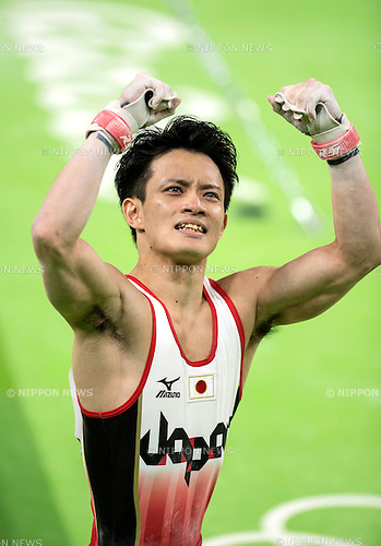 Yusuke Tanaka (JPN),<br /> AUGUST 8, 2016 - Artistic Gymnastics :<br /> Yusuke Tanaka of Japan celebrates after performing on the horizontal bar in the Men's Team Final at Rio Olympic Arena during the Rio 2016 Olympic Games in Rio de Janeiro, Brazil. (Photo by Enrico Calderoni/AFLO SPORT)