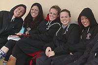 STANFORD, CA - JANUARY 22:  Andi Murez, Fiona Gispen, Meredith Ayres, Jamie Bruce and Michelle Liu of the Stanford Cardinal during Stanford's 173-125 win over Arizona on January 22, 2010 at the Avery Aquatic Center in Stanford, California.