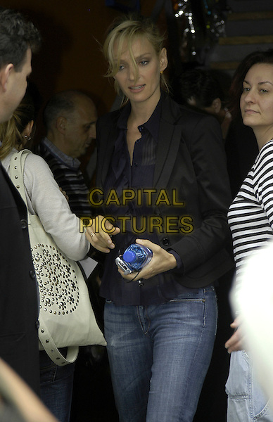 UMA THURMAN.At The Penthouse, Leicester Square, London, UK..May 10th, 2006.Ref: IA.half length black jacket.www.capitalpictures.com.sales@capitalpictures.com.©Capital Pictures